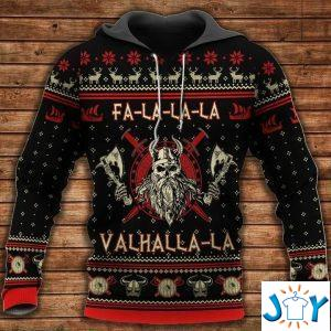 fa la la la la valhalla la viking d christmas hoodie