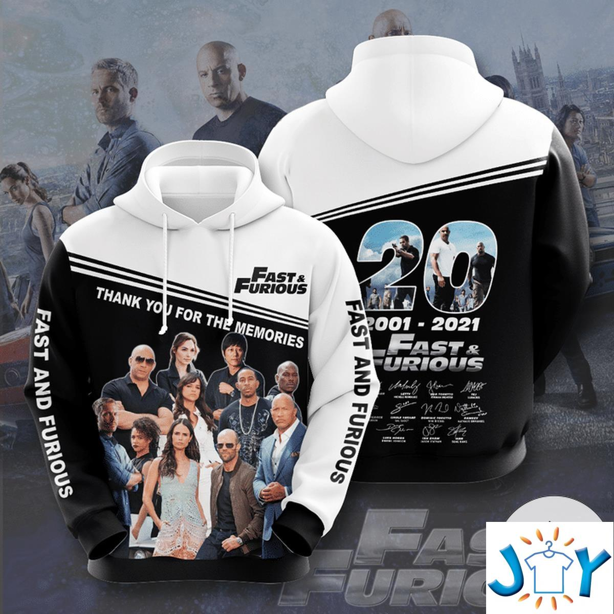 Fast And Furious 20 Years 2001-2021 Aop 3D Hoodie
