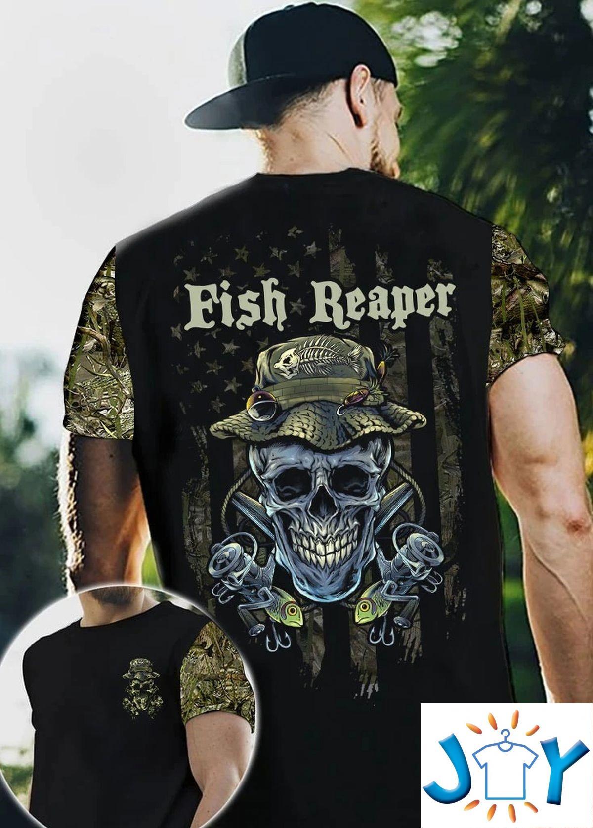 Fish Reaper Skull 3D All Over Print T-Shirt, Hoodie