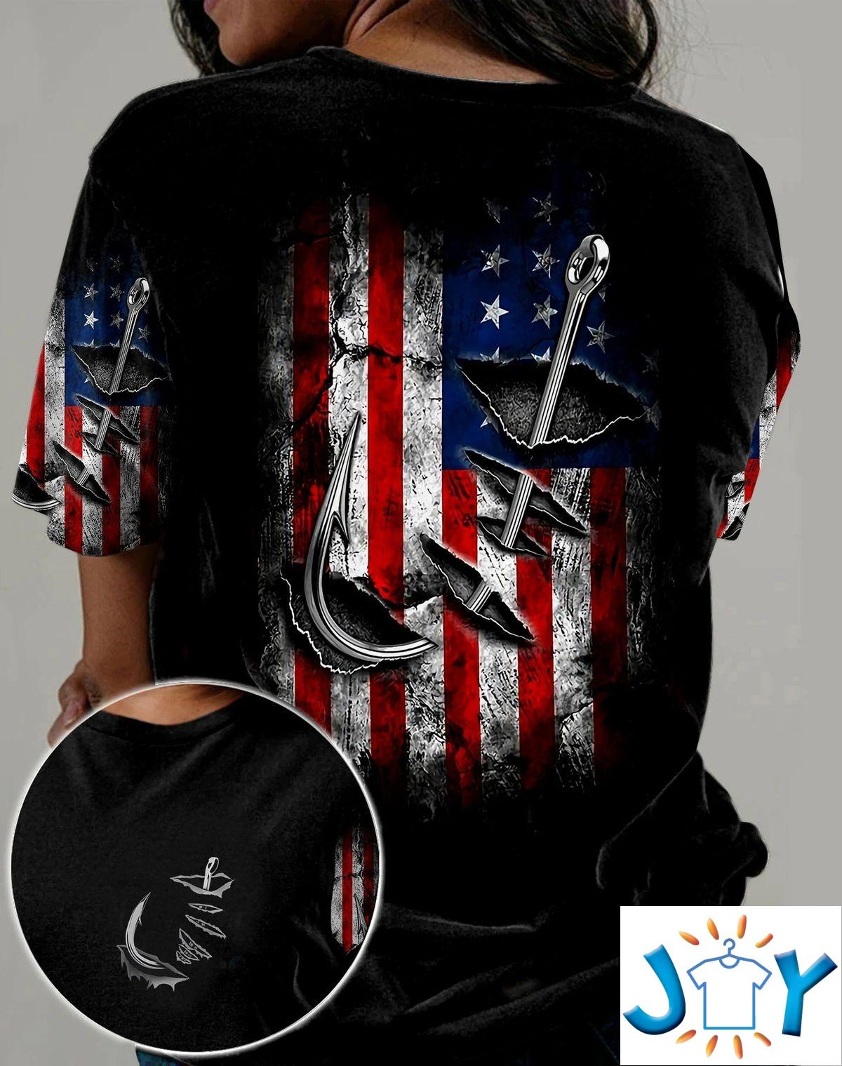 Fishing Hook Us Flag 3D All Over Print T-Shirt, Hoodie
