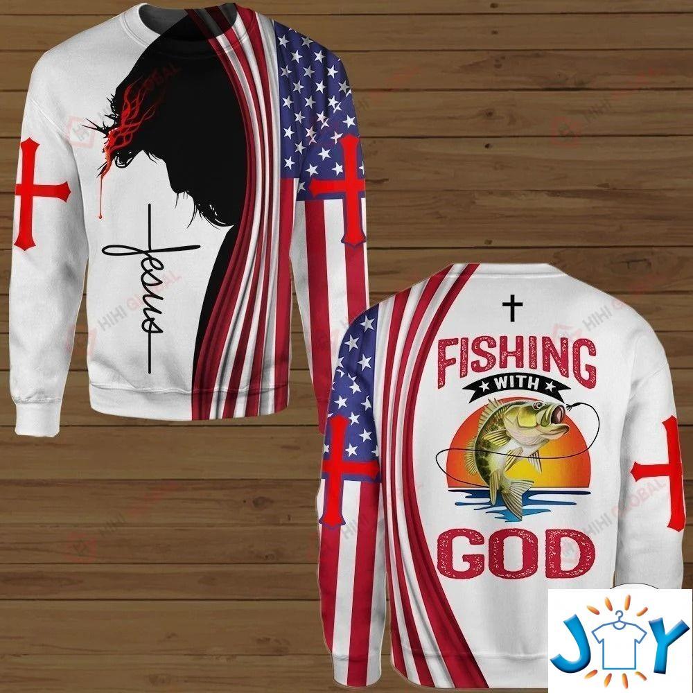 Fishing With God 3D Hoodies, Sweatshirt, Hawaiian Shirt