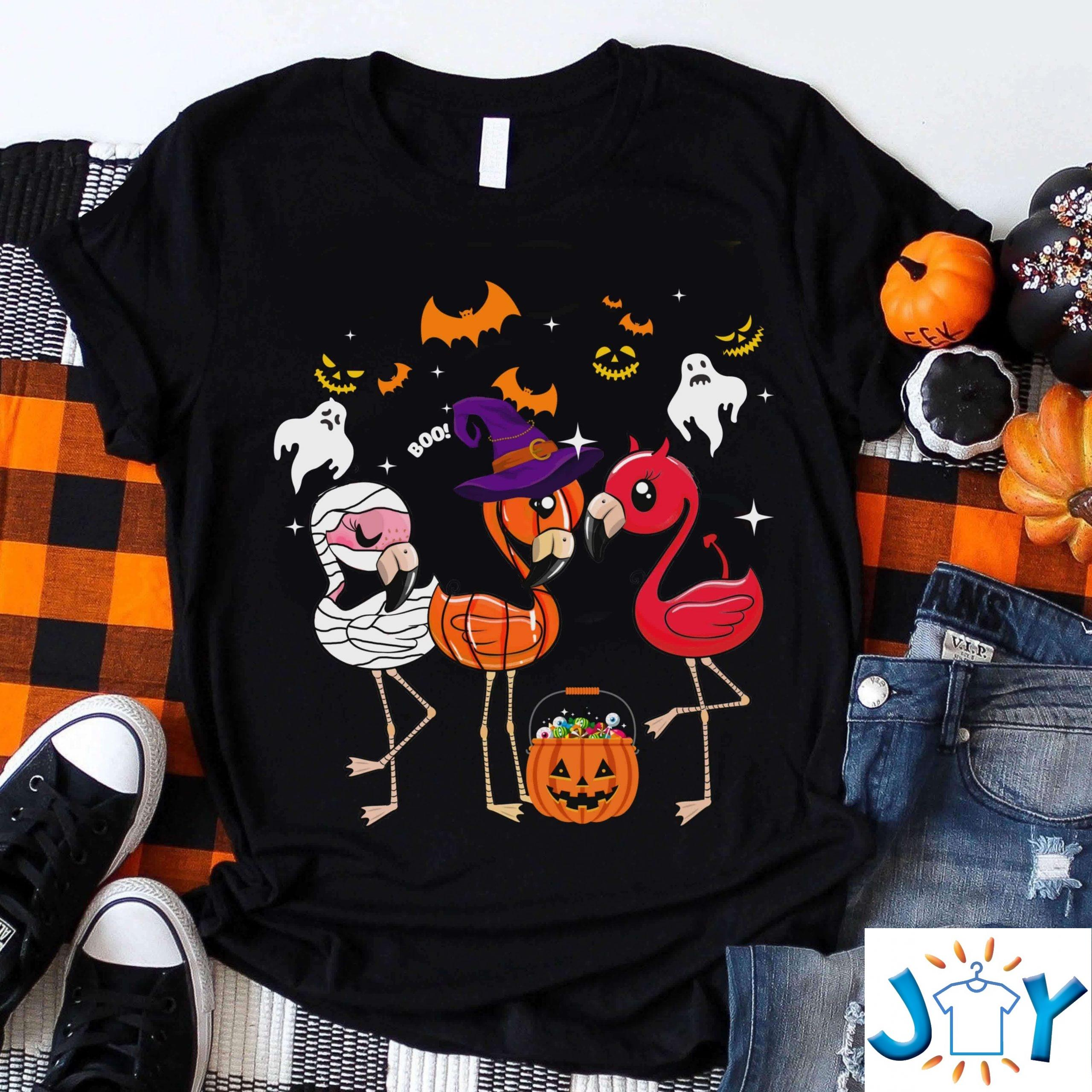 Flamingo Halloween Pumpkin Witch Devil Costume Lovely Funny Shirt