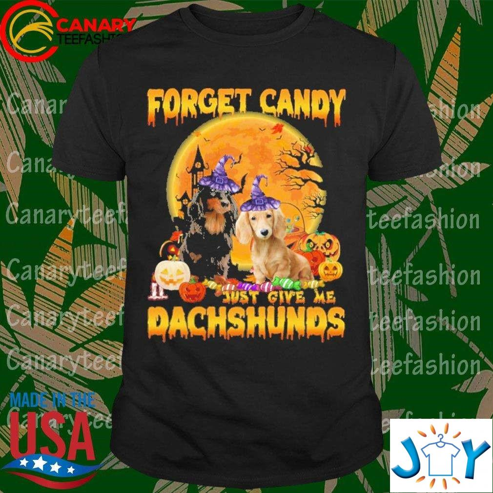 Forget Candy Just Give Me Dachshunds Witch And Pumpkin Halloween Shirt