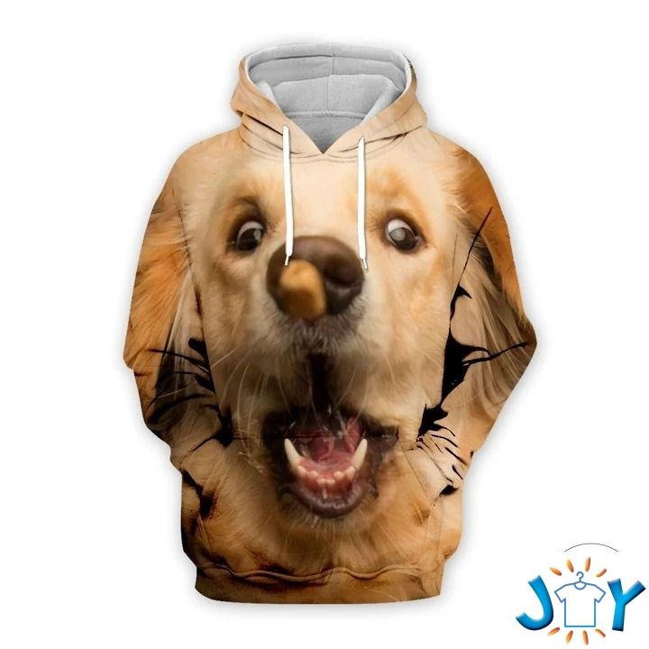 Golden Retriever Playing With Toy Big Face 3D Hoodie