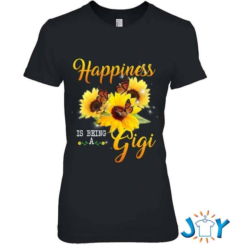 Happiness Is Being A Gigi Tee Butterfly Sunflowers Gifts T-Shirt