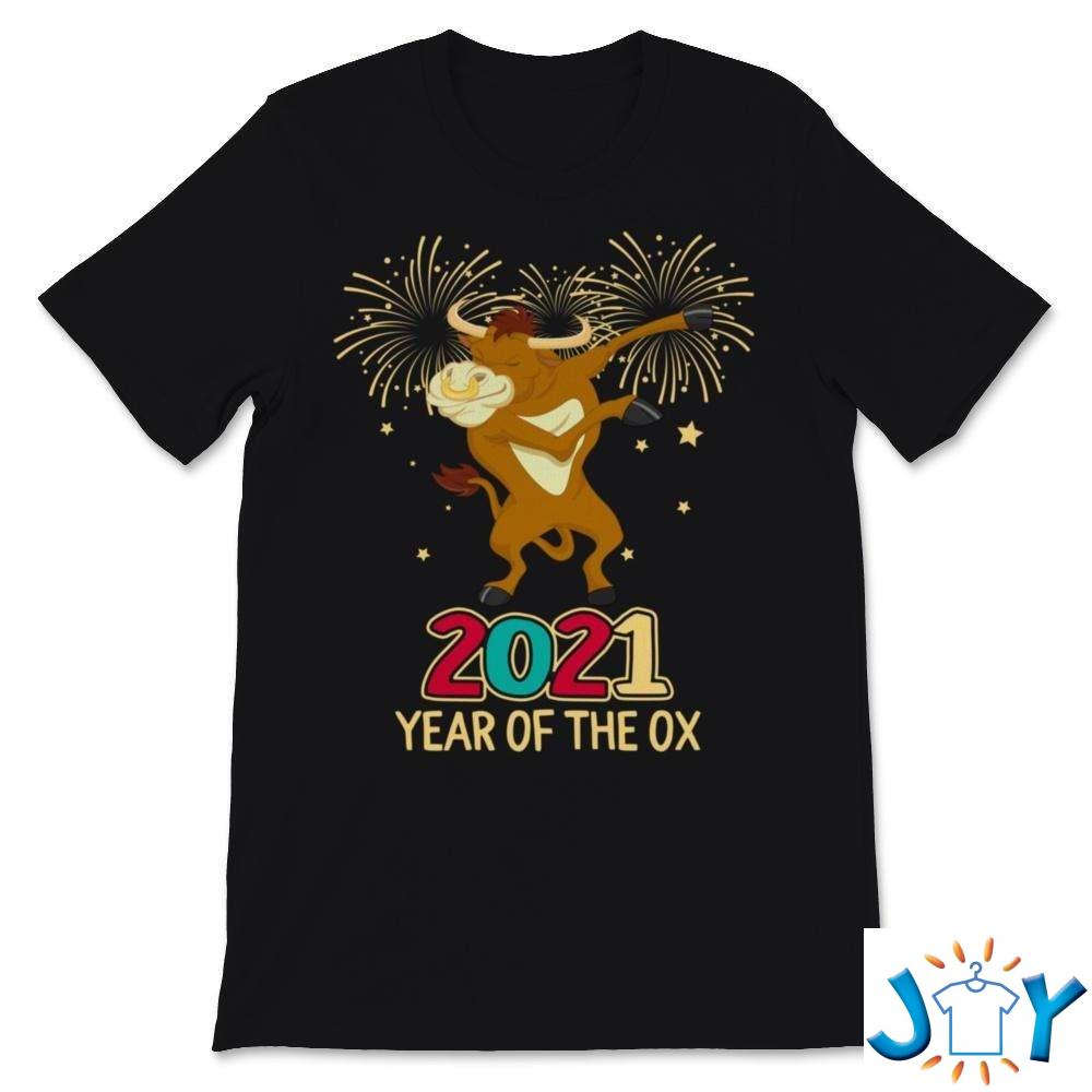 Happy New Year 2021 Year Of The Ox Cute Dabbing Ox Chinese New Year Shirt