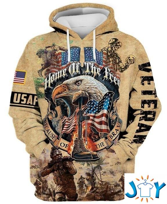 Home Of The Free Because Of The Brave Veteran 3D Hoodie