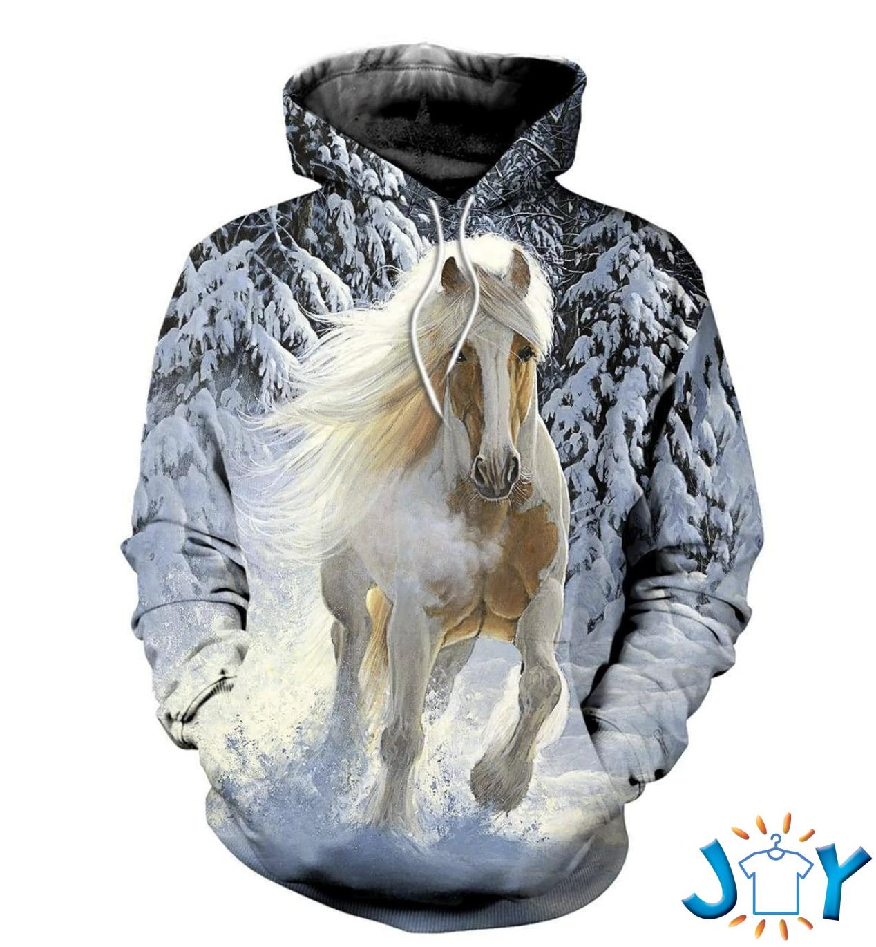 Horse Snow 3D All Over Printed Hoodie