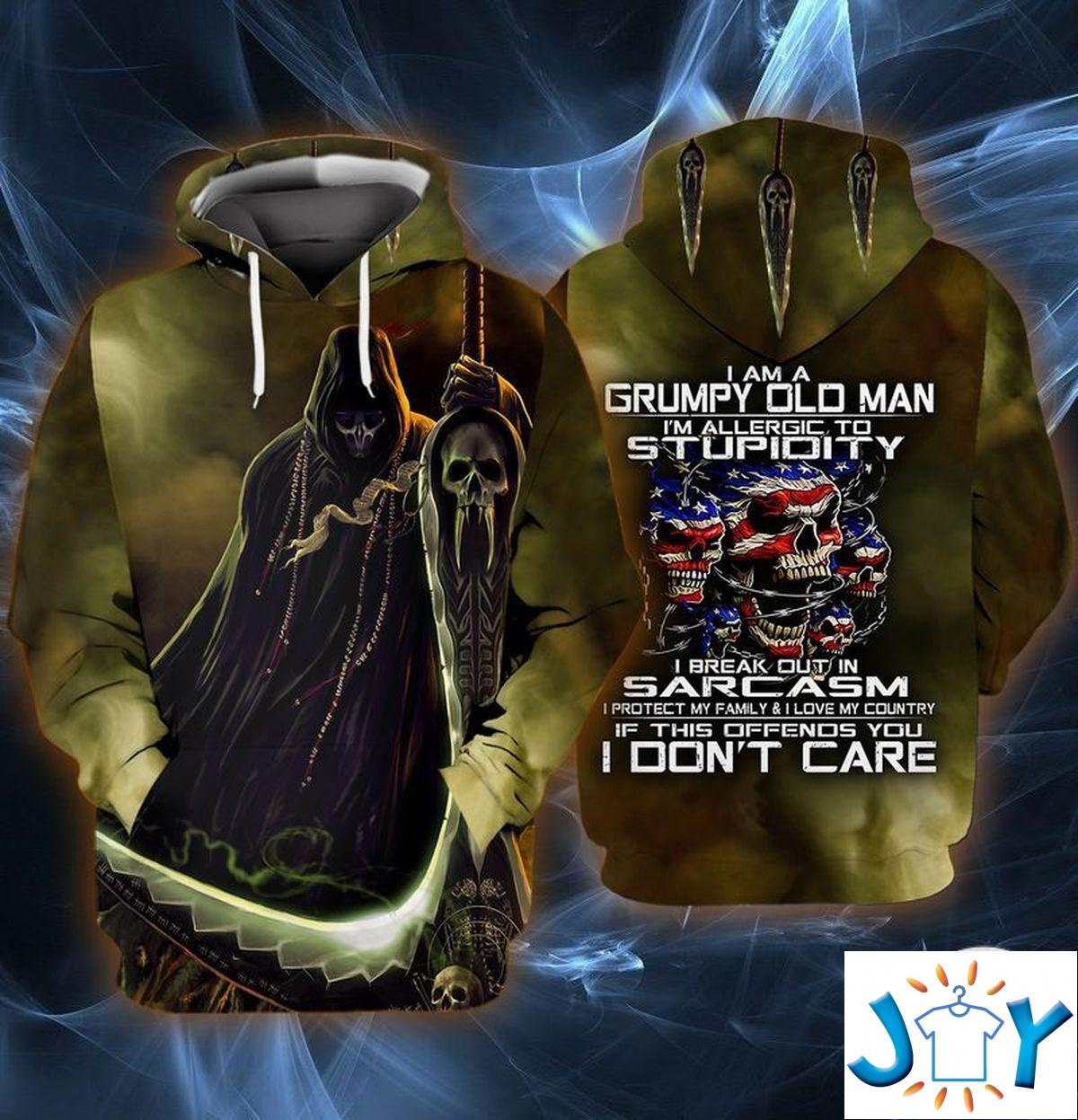 I Am A Grumpy Old Man I'M Allergic To Stupidity I Break Out In Sarcasm 3D Hoodie