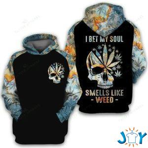 i bet my soul smells like weed d all over printed hoodie