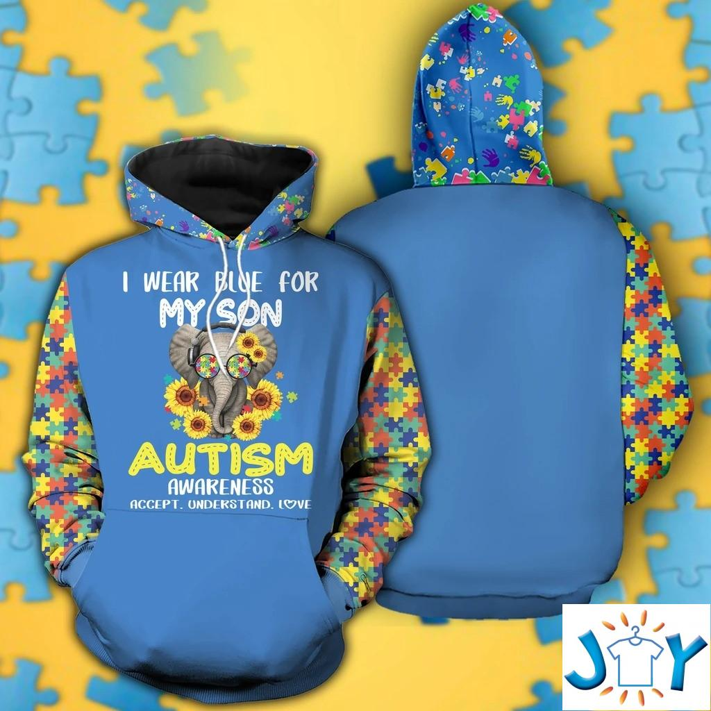 I Wear Blue For My Son Autism Awareness 3D Hoodie