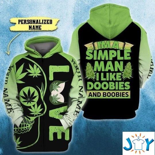 I'm A Simple-Man I Like Doobies and Boobies Skull 3D All Over Printed hoodie