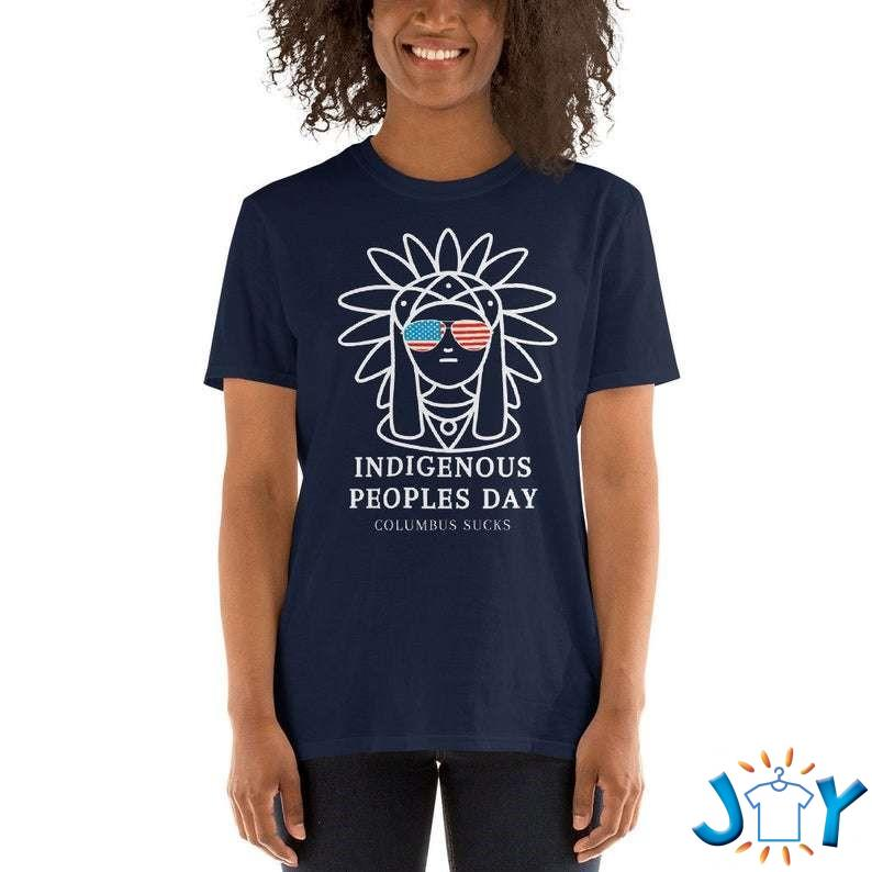 Indigenous Peoples Day Columbus sucks cool gift for Columbus day with an Indian girl wearing sunglasses t-shirt