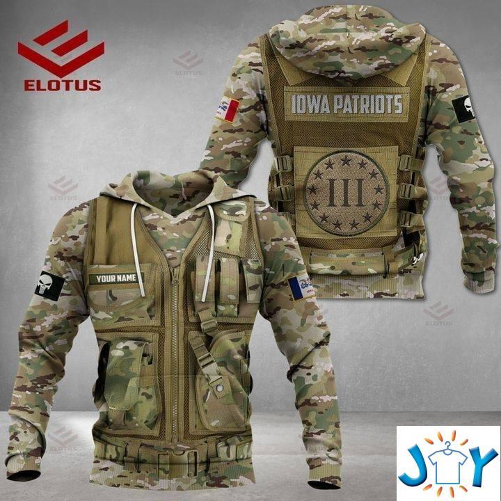 Iowa Patriots Military Camouflage 3D Hoodies