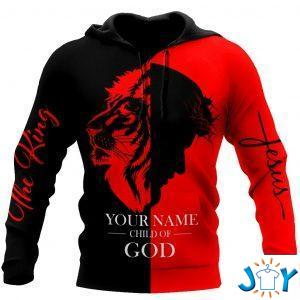 jesus child of god the king lion customize name all over printed d hoodie