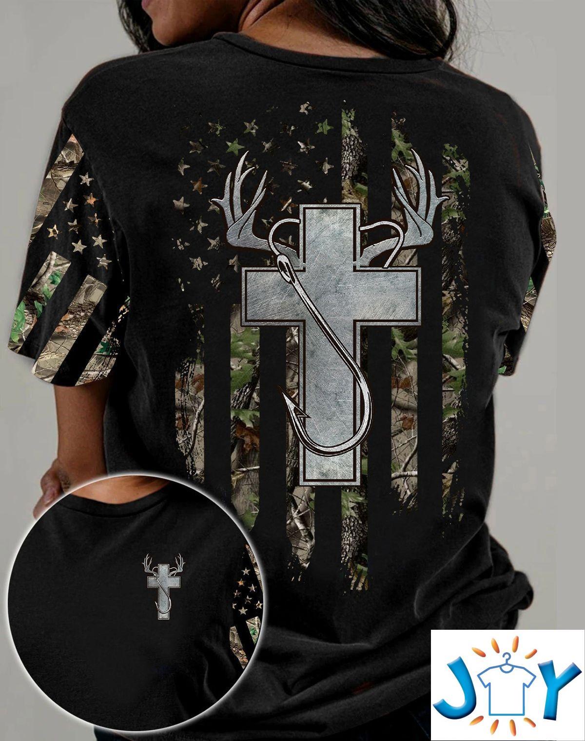 Jesus Hunting Fishing 3D T-shirt, Hoodie