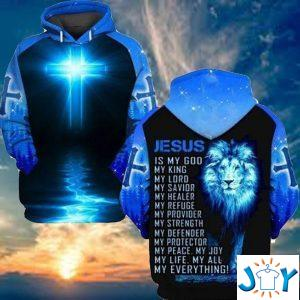 jesus is my god my king my lord my savior my healer lion d hoodie