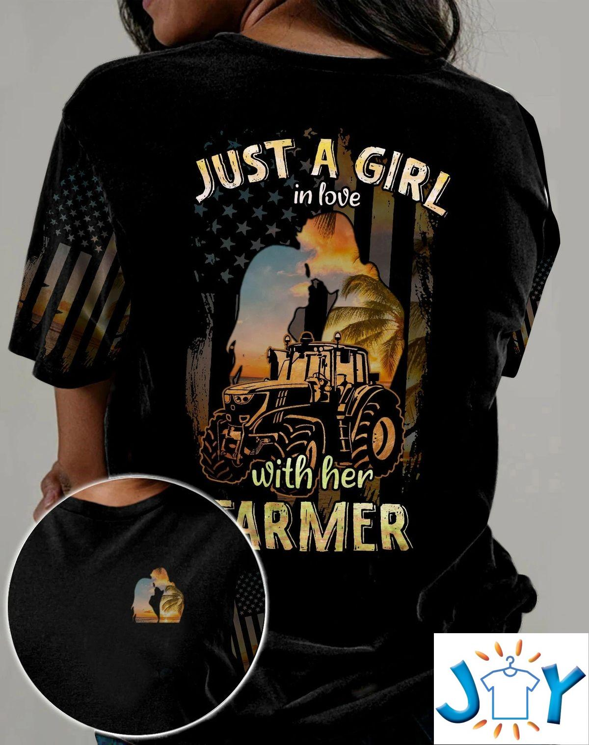 Just A Girl In Love With Her Farmer 3D All Over Print T-shirt, Hoodie