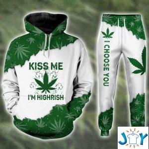 kiss me im highrish weed d hoodie and sweatpants