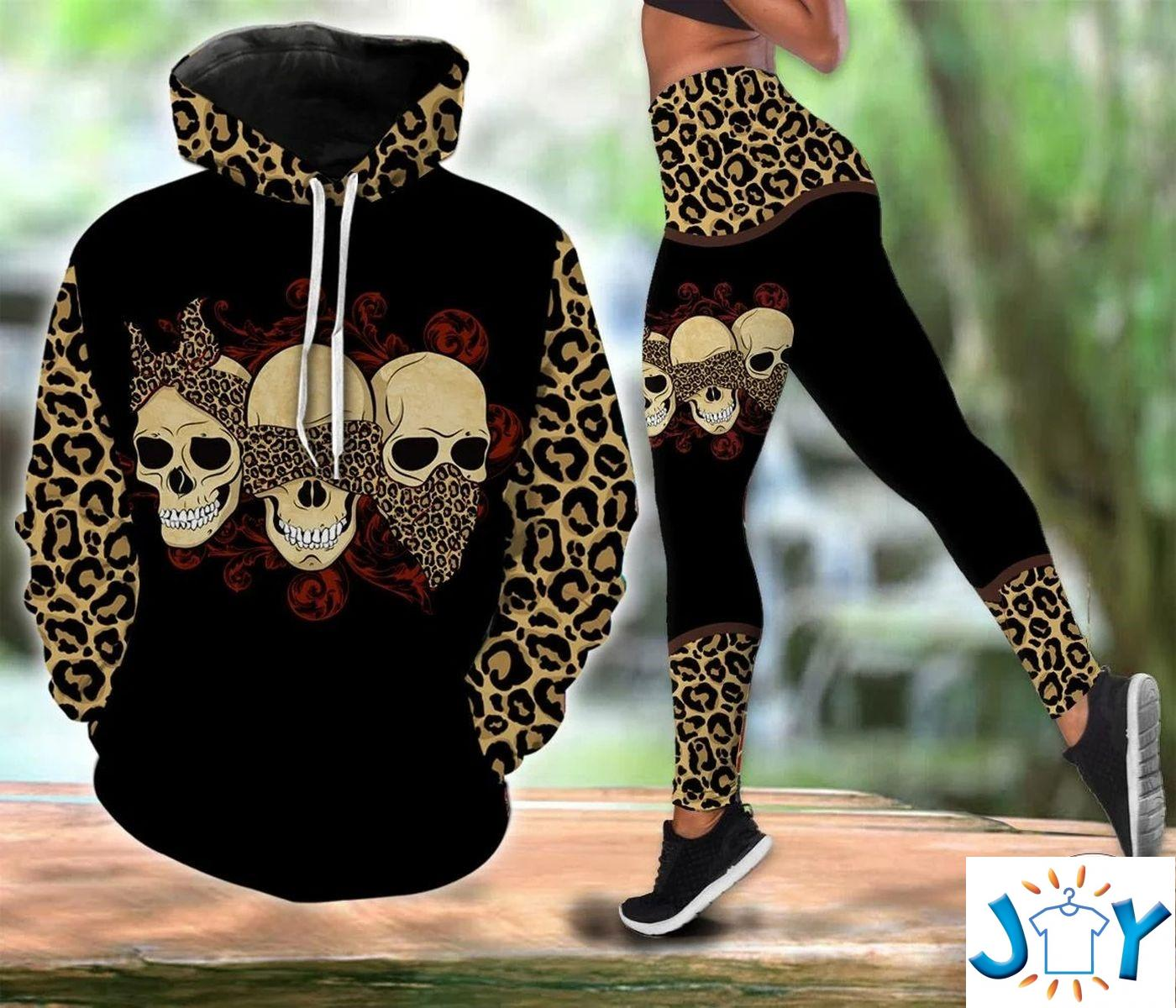 Lady Skull Leopard 3D Hoodie and Legging