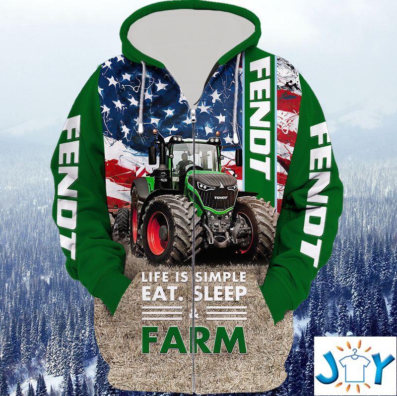 Life Is Simple Eat Sleep Farm 3D Zip Hoodie