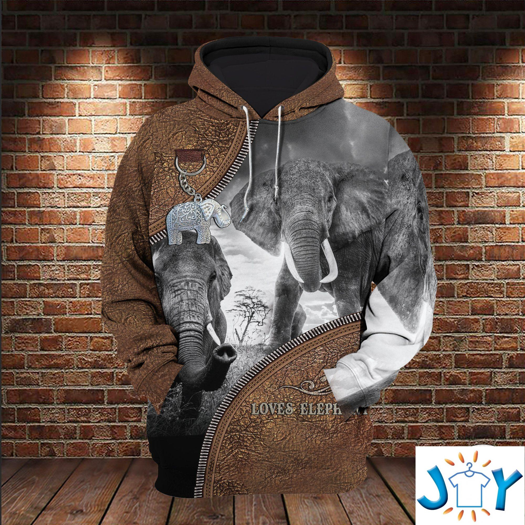 Loves Elephant Leather Zipper 3D All Over Print Hoodie