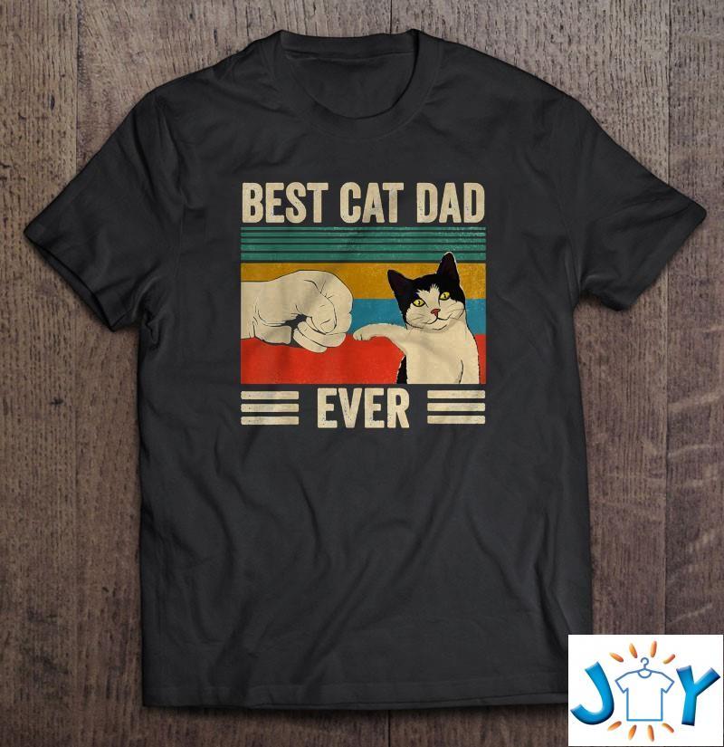 Mens Vintage Best Cat Dad Ever Bump Fit Unisex T-Shirt