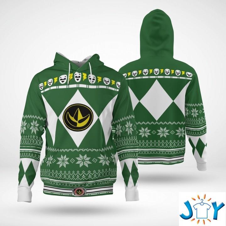 Mighty Morphin Green Power Rangers 3D Christmas Hoodie