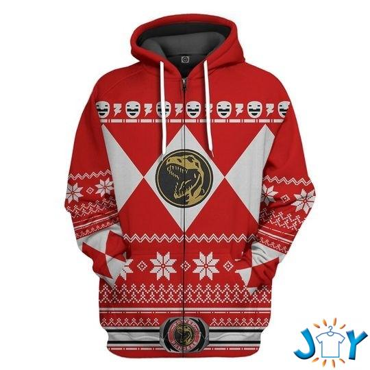 Mighty Morphin Red Power Rangers 3D Christmas Hoodie