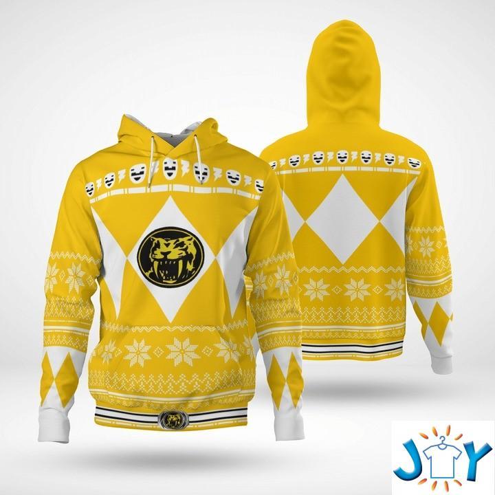 Mighty Morphin Yellow Power Rangers 3D Christmas Hoodie