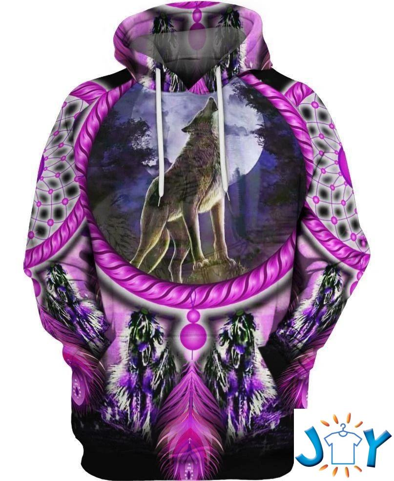 Native American Wolf Violet 3D Hoodie