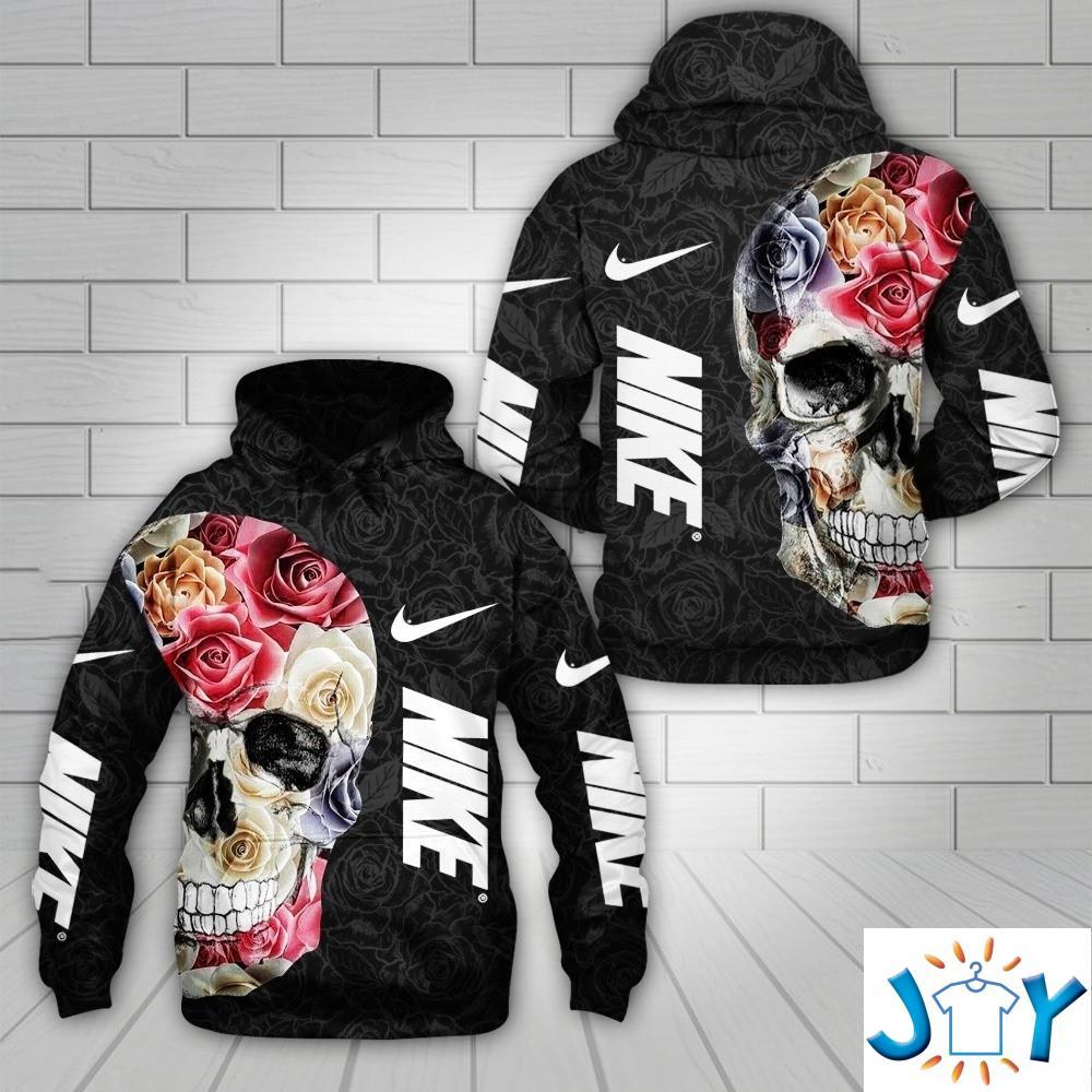 Nike Skull Rose Flowers 3D All Over Print Hoodie