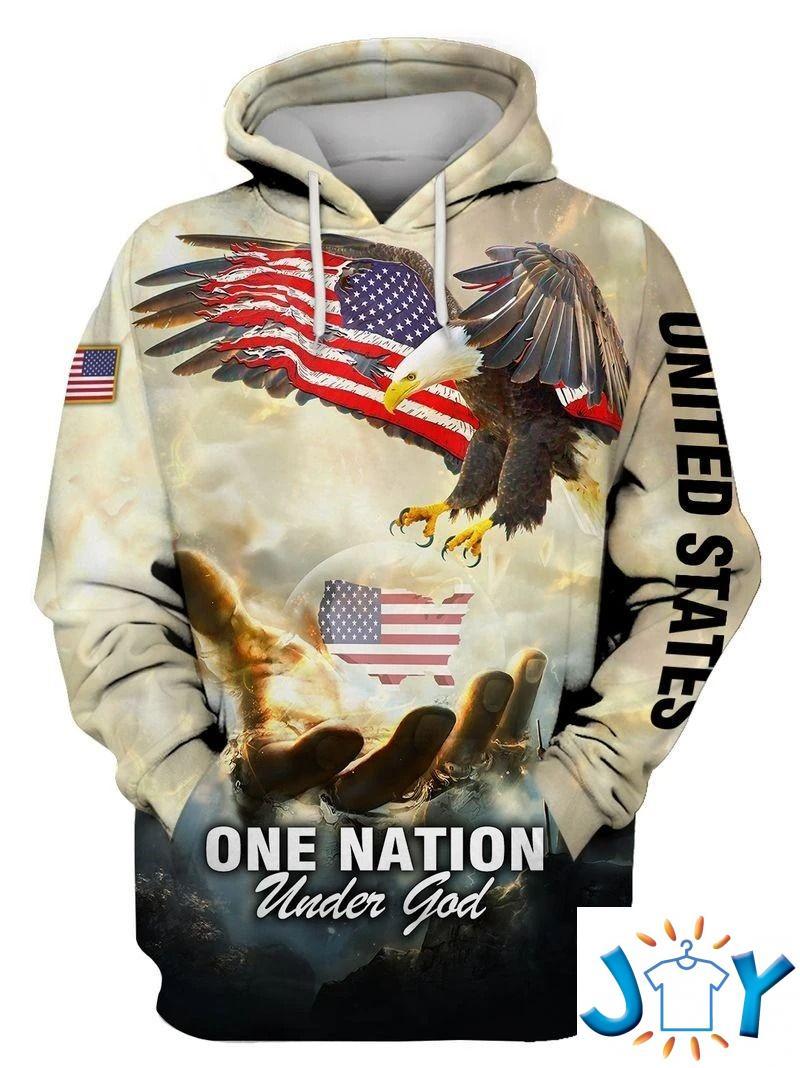 One Nation Under God Eagle Flag 3D All over Print Hoodies