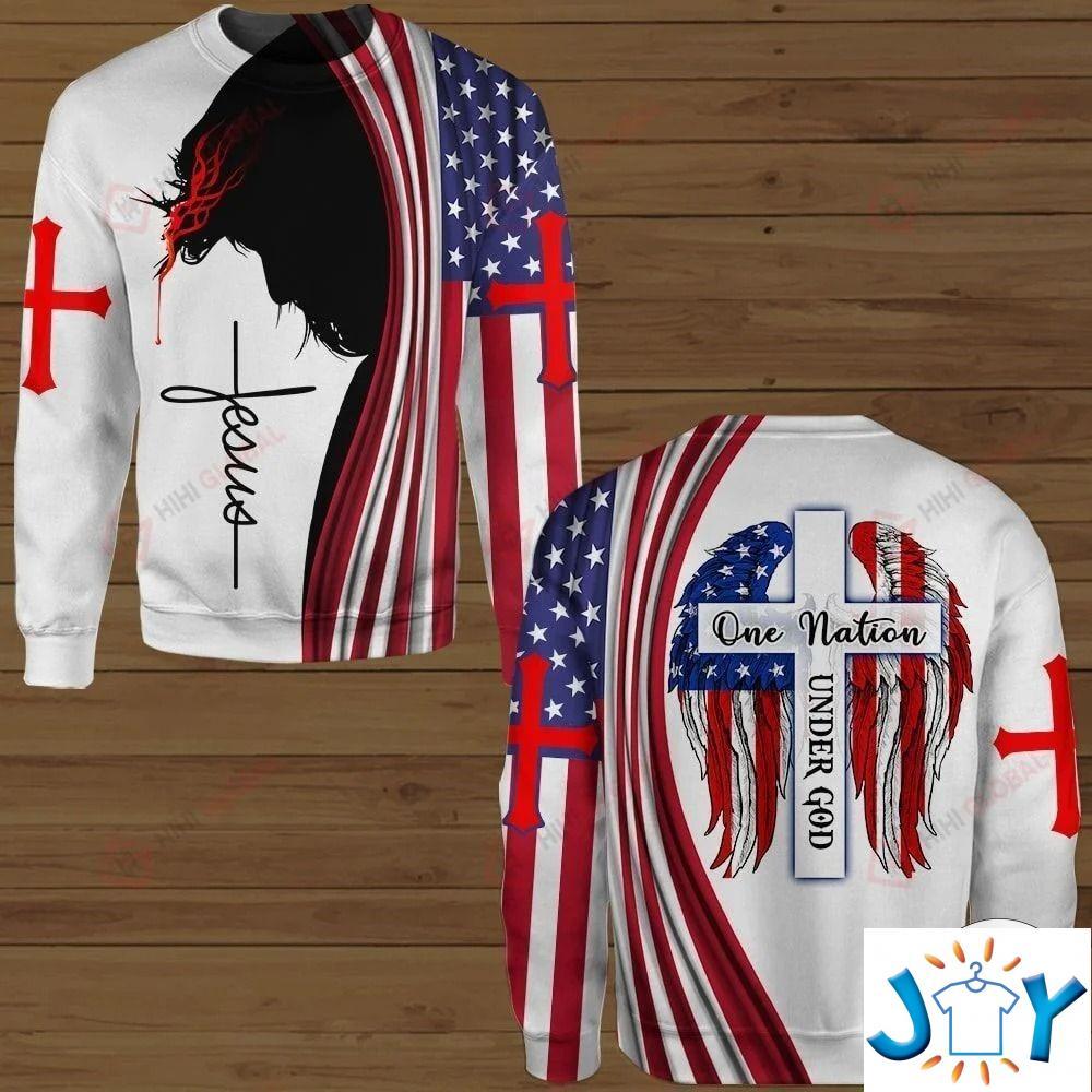 One Nation Under God Jesus American Flag 3D Hawaiian Shirt, Hoodies and Sweatshirt