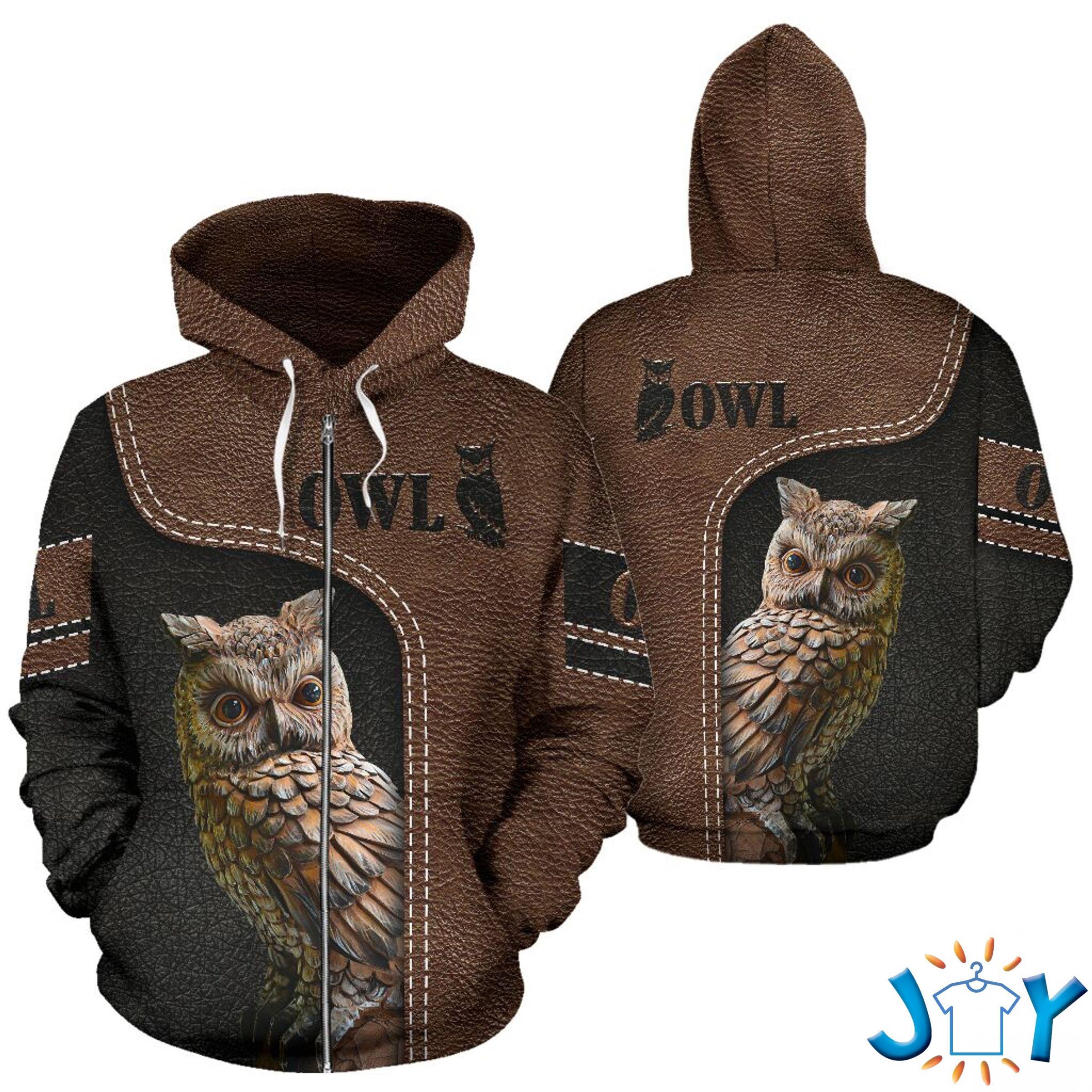 Owl Leather 3D Hoodies