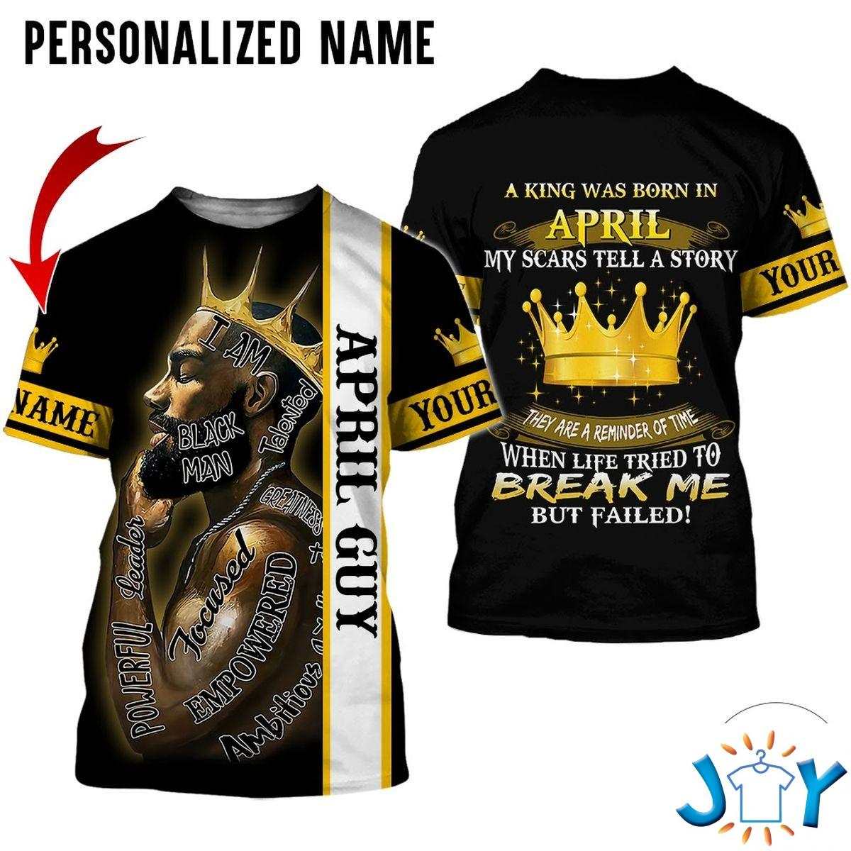 Personalized A King Was Born In April Black Man All Over Print Hoodie
