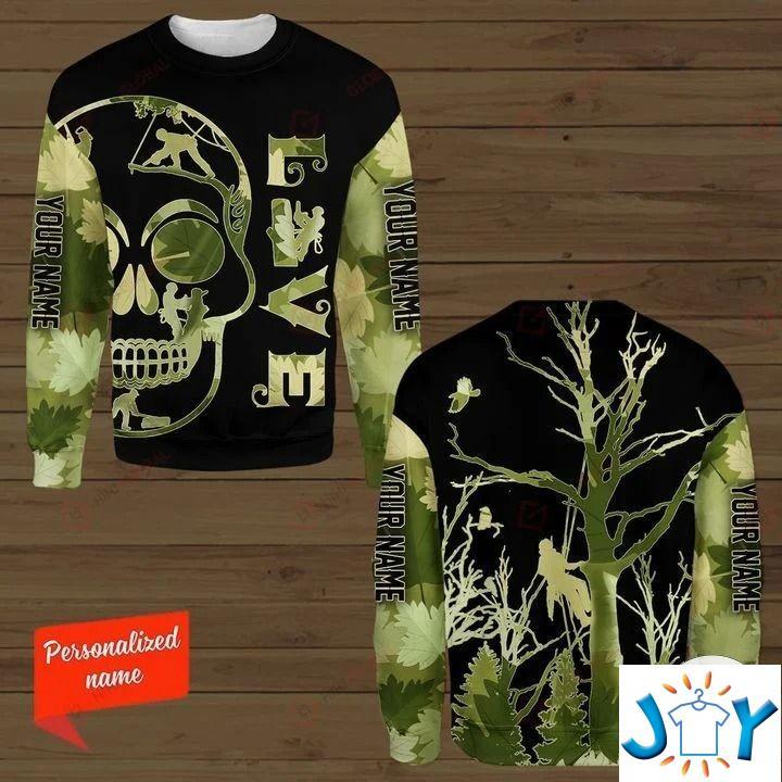Personalized Arborist Skull Love 3D hoodies, Sweatshirt, Hawaiian Shirt