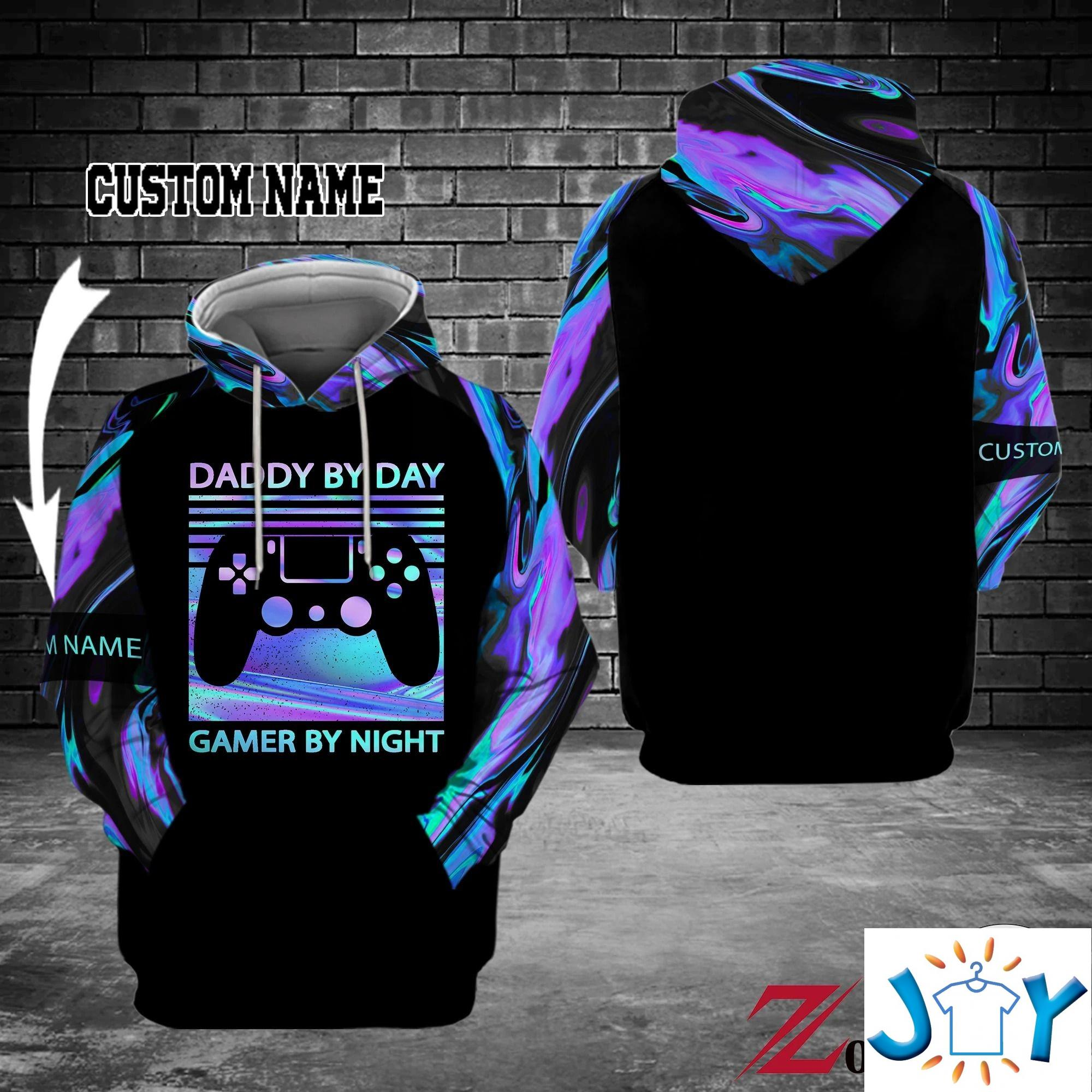 Personalized Daddy By Day Gamer By Night 3D Hoodies