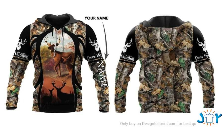 Personalized Deer Hunting 3D all over printed hoodie