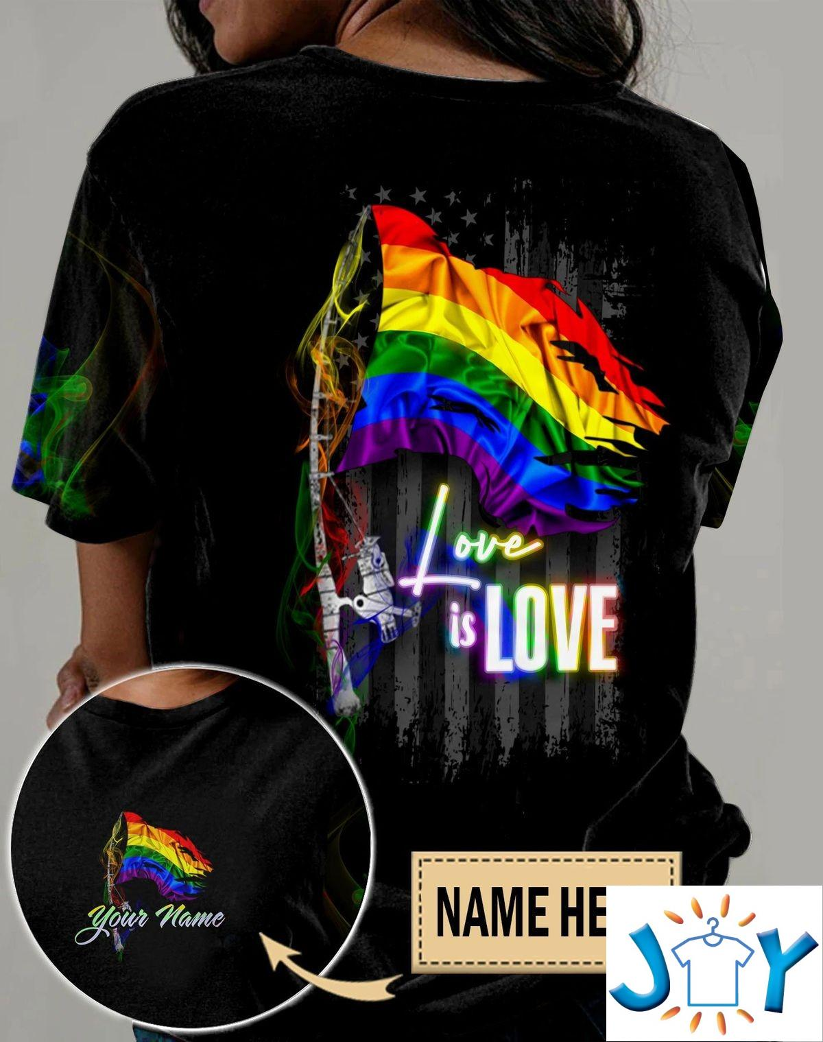 Personalized LGBT Pride Love Is Love Smoke Flag Fishing 3D All Over Print T-Shirt, Hoodie