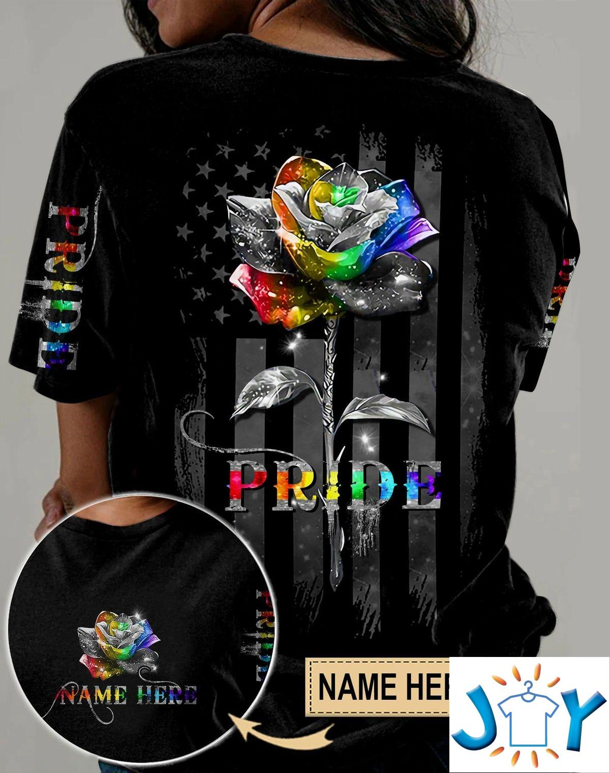 Personalized LGBT Pride Rose Flag Color Full 3D All Over Print Shirt, Hoodie