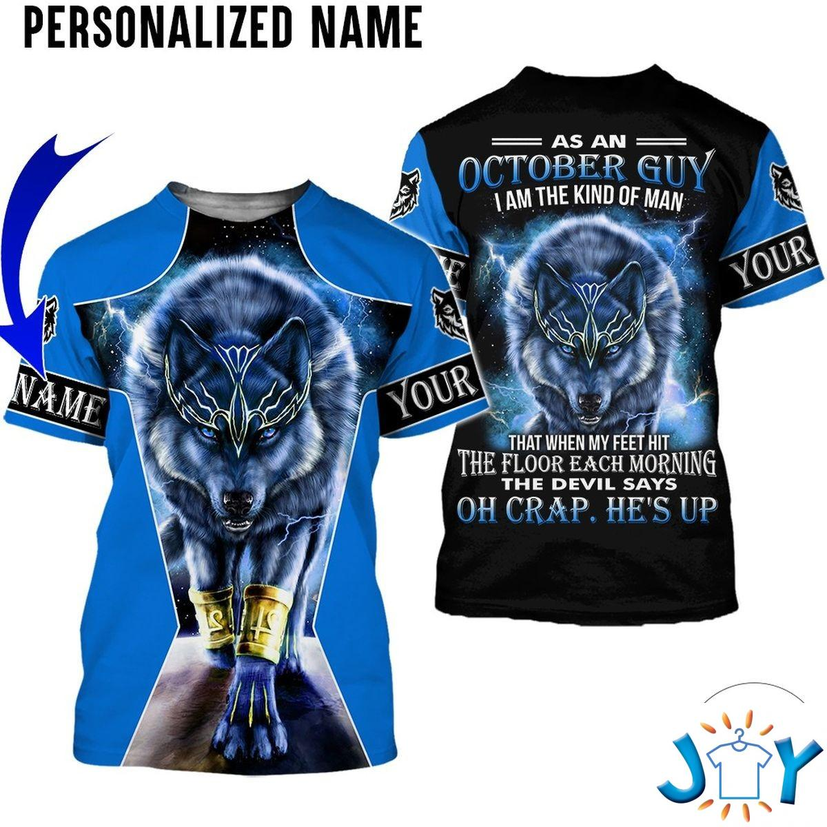 Personalized Name As An October Guy I Am A Kind Of Man Wolf All Over Print Hoodie
