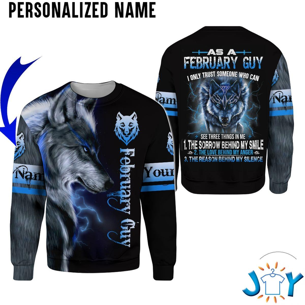 Personalized Name February Guy Wolf All Over Print Hoodie