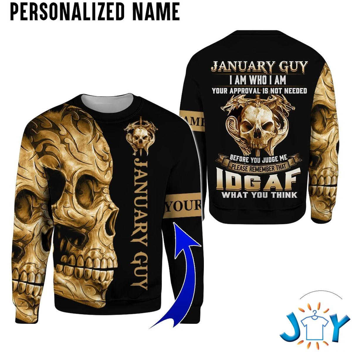 Personalized Name January Guy Skull I Am Who I Am All Over Print Hoodie