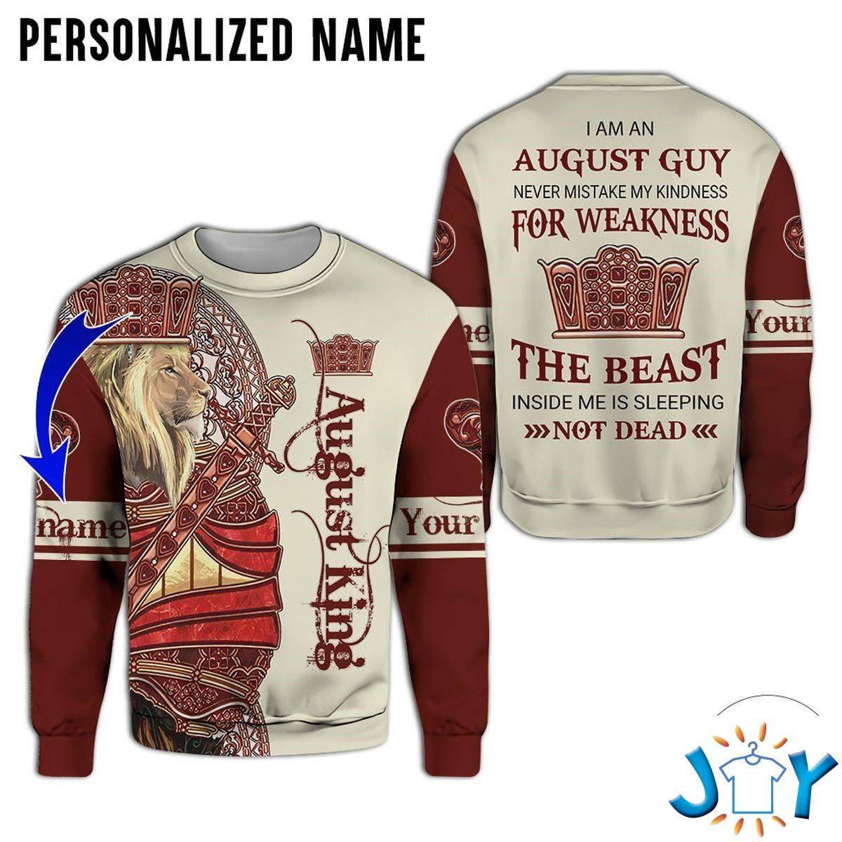 Personalized Name Lion August King Never Mistake My Kindness For Weakness All Over Print Hoodie