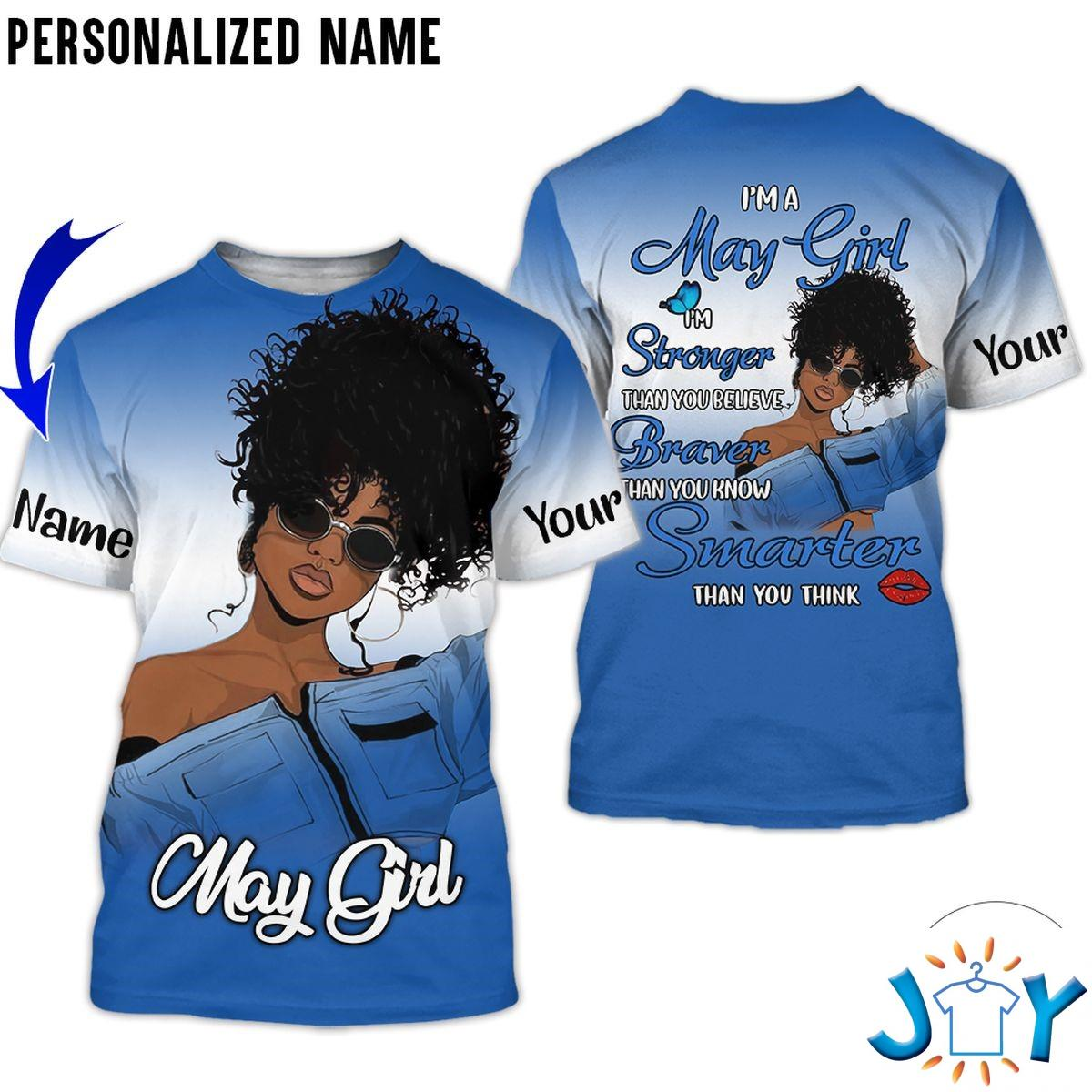 Personalized Name May Girl I'm Stronger Than You Believe Blue All Over Print Hoodie