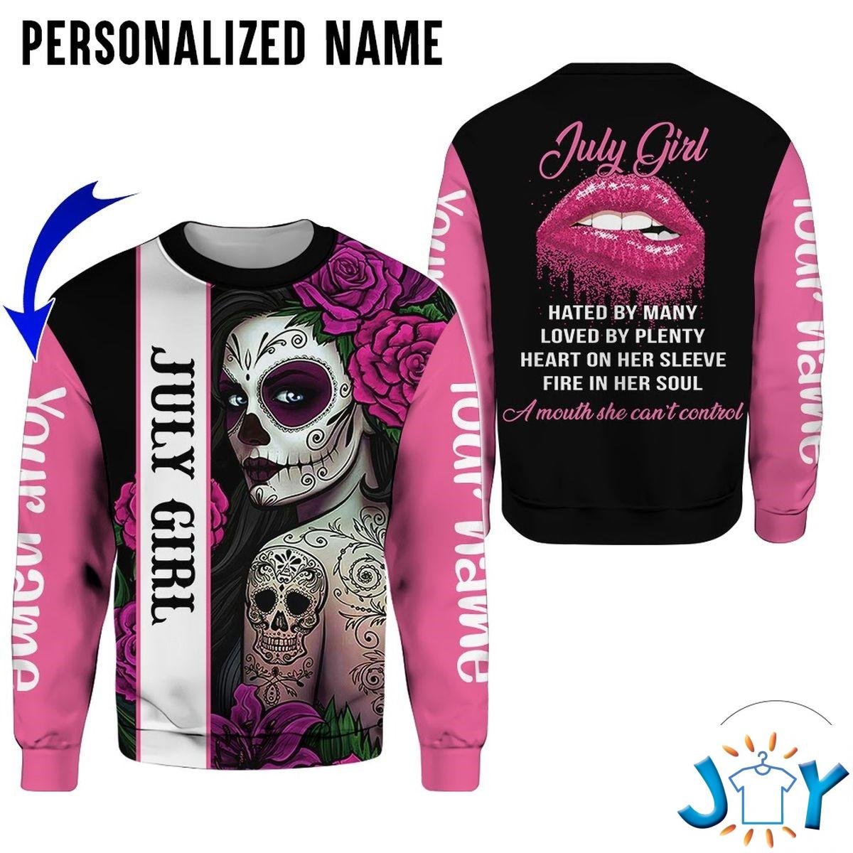 Personalized Name Skull Tattooist July Girl All Over Print Hoodie