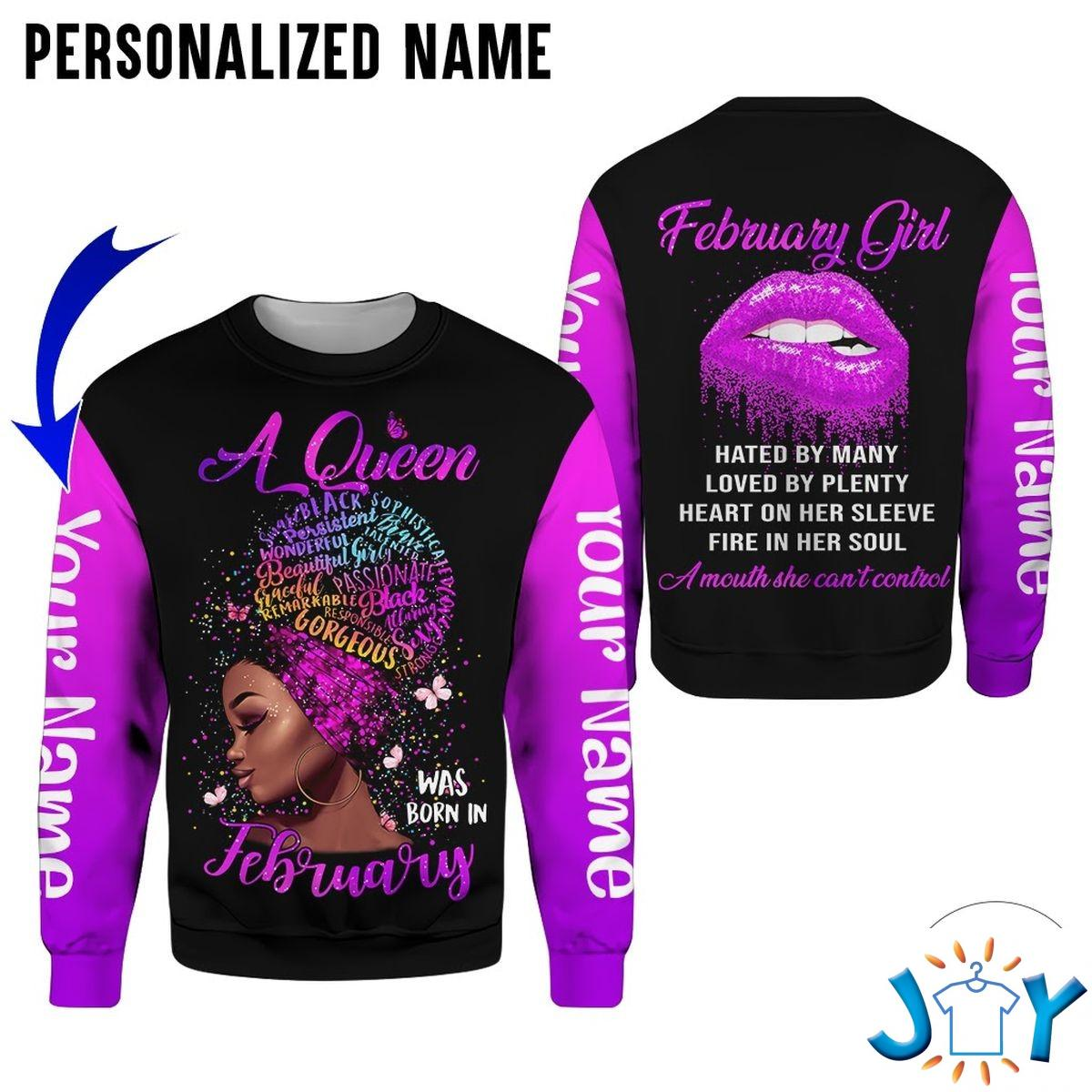 Personalized Name This Queen Was Born In February Purple All Over Print Hoodie