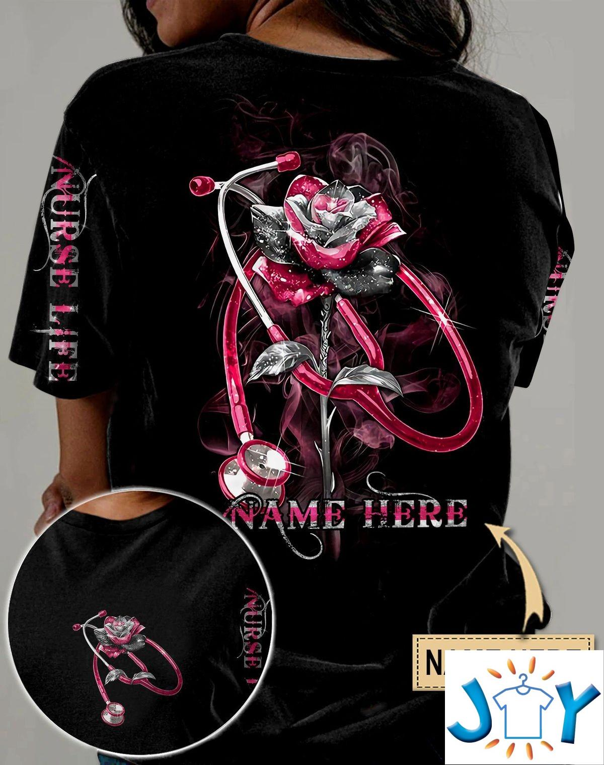 Personalized Nurse Life Rose Glitter 3D All Over Print T-Shirt, Hoodie