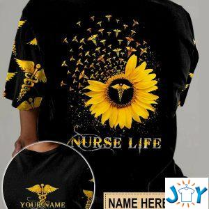 personalized nurse life sunflower d all over print t shirt hoodie